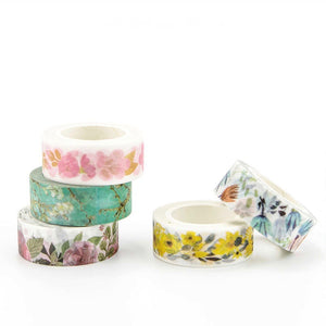 Yellow Plum Flower Washi Tape 15mmx7m | The Washi Tape Shop. Beautiful Washi and Decorative Tape For Bullet Journals, Gift Wrapping, Planner Decoration and DIY Projects