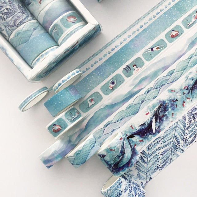 8 Pieces Set Sea and Sky Washi Tape | The Washi Tape Shop. Beautiful Washi and Decorative Tape For Bullet Journals, Gift Wrapping, Planner Decoration and DIY Projects