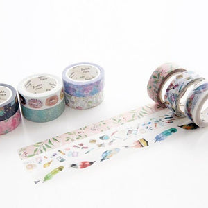 Feathery Tale Washi Tape 15mmx7m | The Washi Tape Shop. Beautiful Washi and Decorative Tape For Bullet Journals, Gift Wrapping, Planner Decoration and DIY Projects