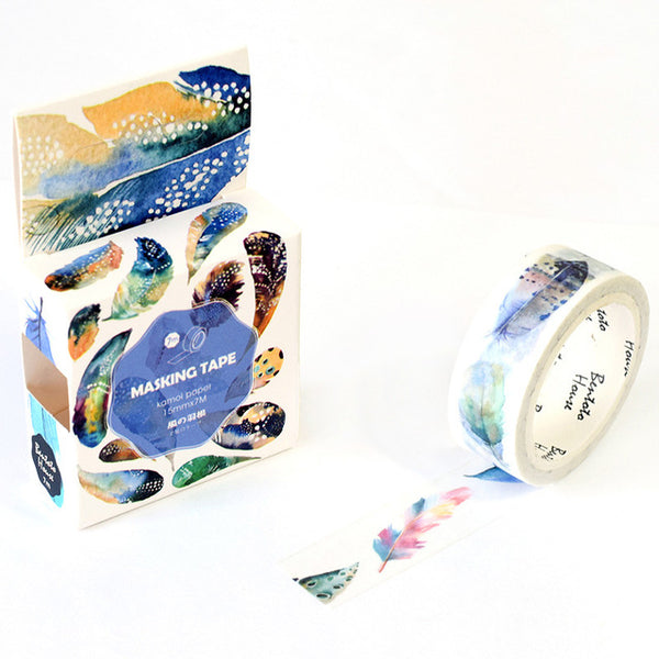 Feathery Tale Washi Tape 15mmx7m - The Washi Tape Shop. Beautiful Decorative Tape For Bullet Journals Gift Wrapping Planner Decoration DIY Projects
