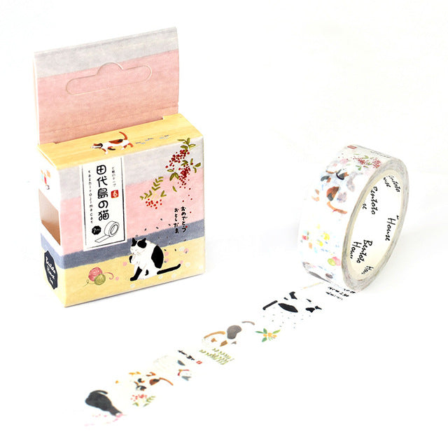 Wandering Cat Washi Tape 15mmx7m | The Washi Tape Shop. Beautiful Washi and Decorative Tape For Bullet Journals, Gift Wrapping, Planner Decoration and DIY Projects