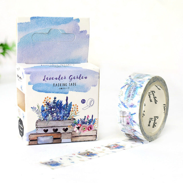 Lavender Garden Washi Tape 15mmx7m | The Washi Tape Shop. Beautiful Washi and Decorative Tape For Bullet Journals, Gift Wrapping, Planner Decoration and DIY Projects