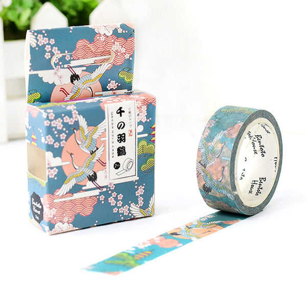 Thousand Year Crane Washi Tape 15mmx7m - The Washi Tape Shop. Beautiful Decorative Tape For Bullet Journals Gift Wrapping Planner Decoration DIY Projects