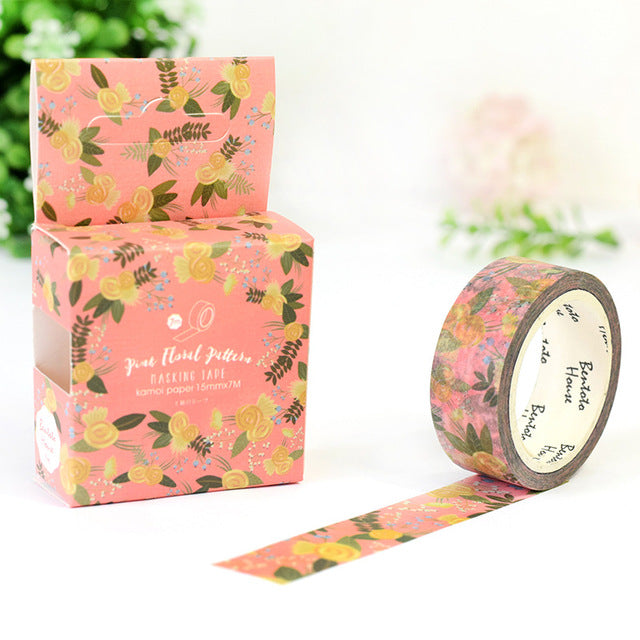 Yellow Floral Washi Tape 15mmx7m - The Washi Tape Shop