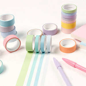 12 Piece Macaron Solid Color Washi Tape Set