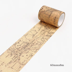 Map Memory Washi Tape 60mmx8m | The Washi Tape Shop. Beautiful Washi and Decorative Tape For Bullet Journals, Gift Wrapping, Planner Decoration and DIY Projects