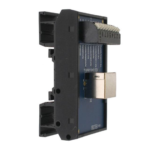 T35 DIN Rail Modules with Horizontal RJ45 and Horizontal 9 Pin Spring Clamp Terminal Block