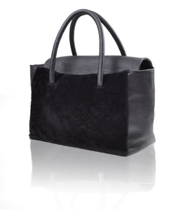 Shearling fur oversize size tote