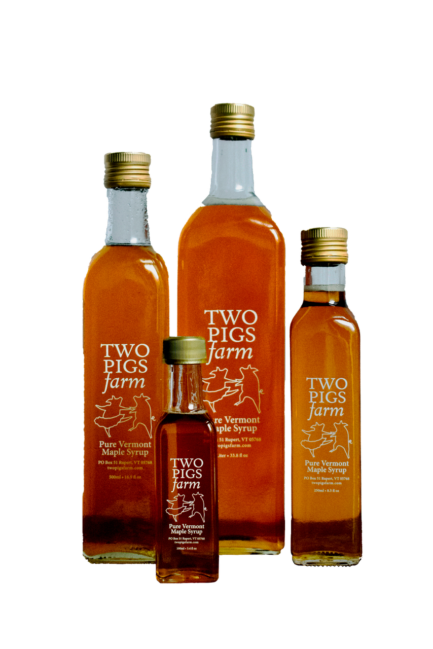 Two Pigs Farm Grade A, Amber Maple Syrup Assorted Bottles