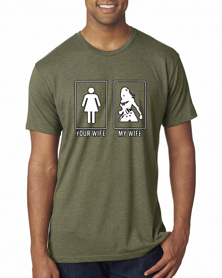 Wild Bobby Your Wife vs My Wife | Superhero  | Mens Humor Premium Tri Blend Tee Graphic T-Shirt