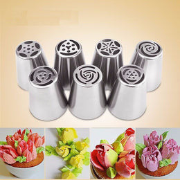 Set of 7 sockets of flower effect XNUMX for decoration of icing, cupcake and cake design