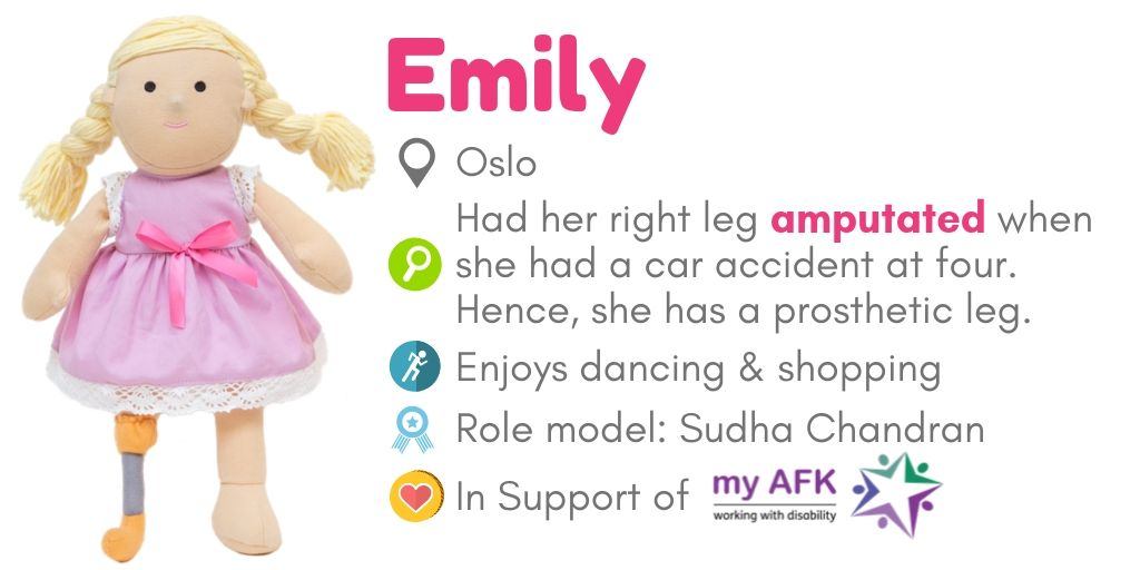 Doll Emily for physical disability awareness