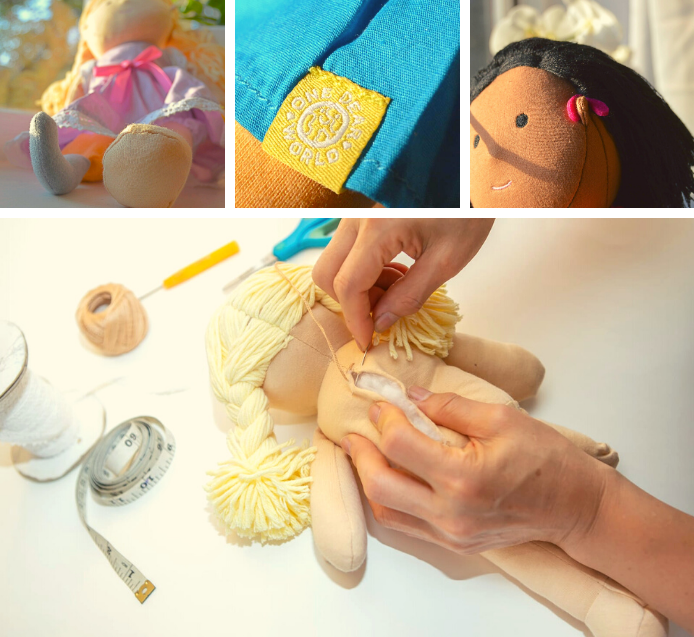 3 small pictures showing the details of the dolls including a prosthetic leg, One Dear World branded label and a hearing aid