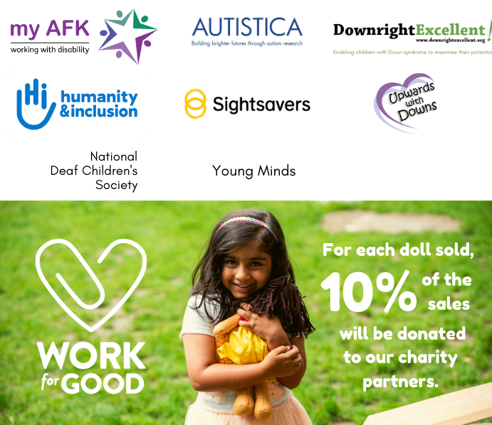 Charities supported including my AFK, Autistica, Downright Excellent, Humanity and Inclusion (HI), Sightsavers, Upwards with Downs, Young Minds and National Deaf Children's Society