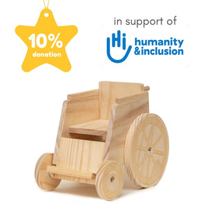 Wooden wheelchair in support of Humanity and Inclusion