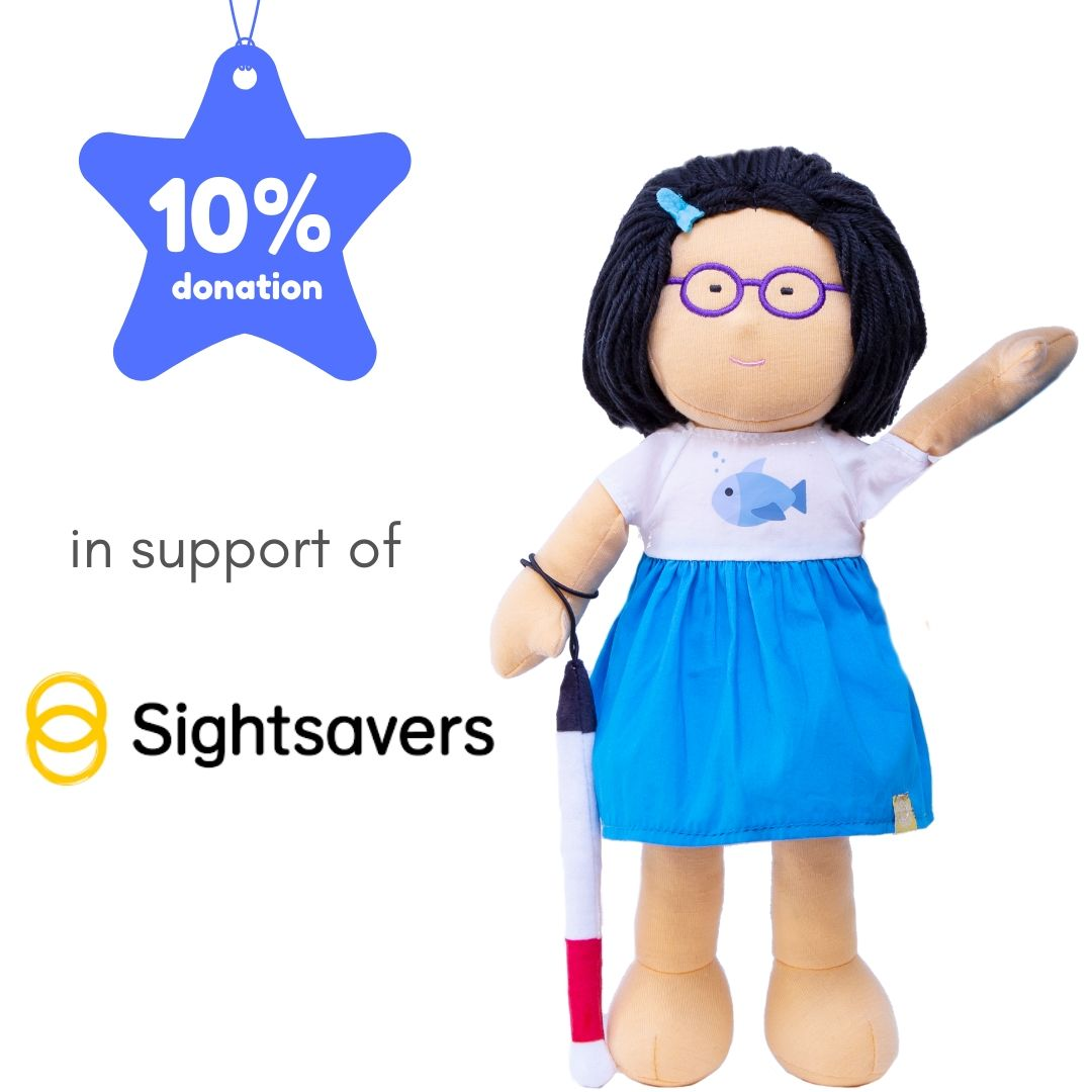 Doll Fei in support of Sightsavers