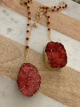 Raspberry color Druzy necklace