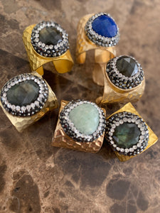 Brass and natural stone ring
