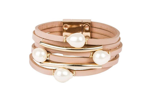 Leather & Pearl Cuff Bracelet