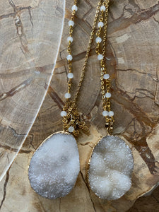 Snowy White druzy necklace