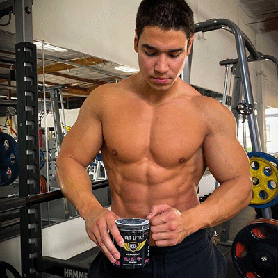 Man getting ready for a workout using LFTD. Lifestyle pre-workout supplement
