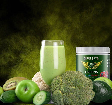 Image of LFTD. Lifestyle super greens smoothie, with fresh vegetables and fruit around it