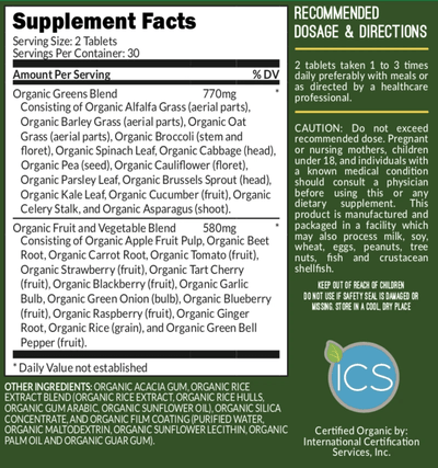 Supplement Facts of Organic Super Greens