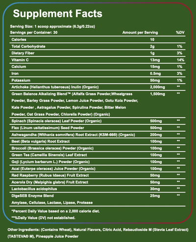 Supplement Facts of Super LFTD. Greens - Mixed Berry