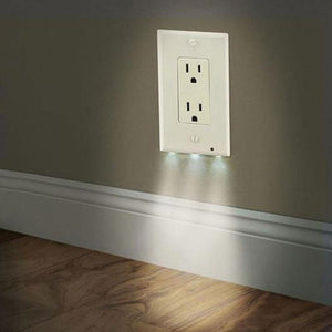 New white socket night light wall outlet cover plate 220v plug cover new white socket night light wall outlet cover plate 220v plug cover with led light hallway mozeypictures Image collections
