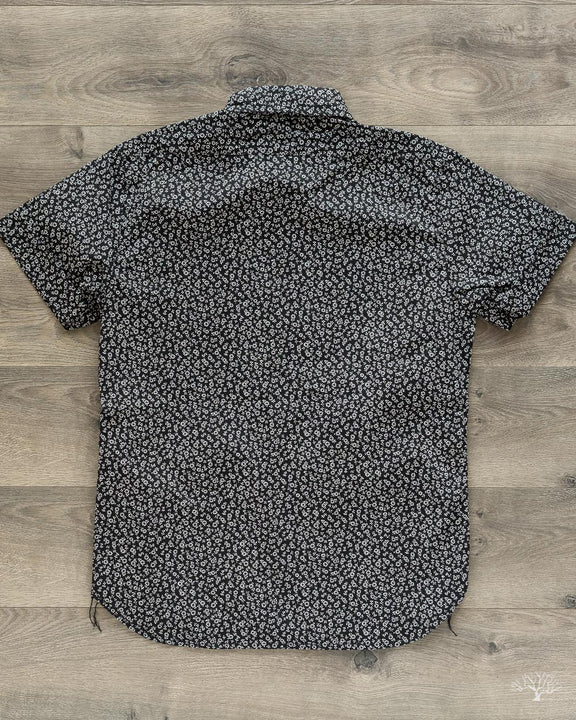 Floral Print Button Down Shirt - Black