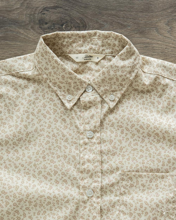 Floral Print Button Down Shirt - Tan