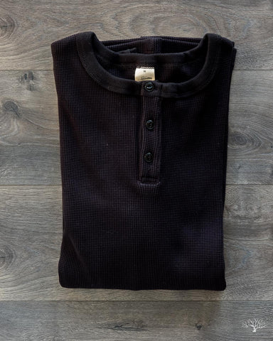 Long Sleeve Thermal Henley - Black