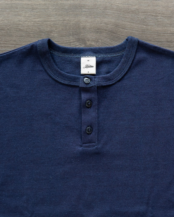 Heavyweight Short Sleeve Henley - Indigo
