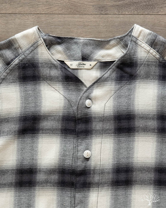 Brushed Plaid Baseball Shirt - Black