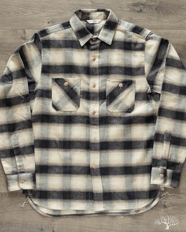 Flannel Utility Shirt - Black/Cream Ombre