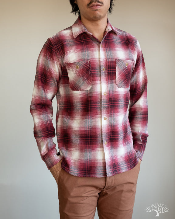 3sixteen Brushed Flannel Utility Shirt - Red