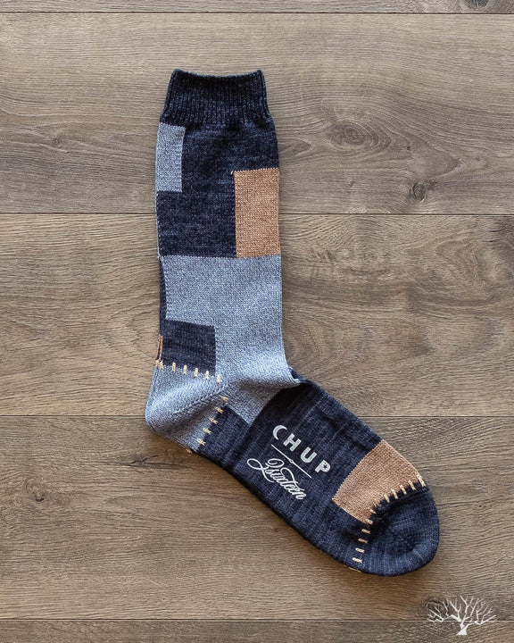 CHUP for 3sixteen - Patchwork Sock - Indigo