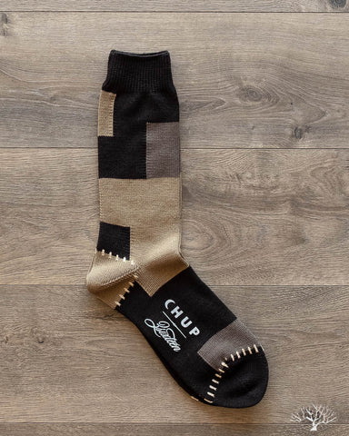CHUP for 3sixteen - Patchwork Sock - Olive/Black