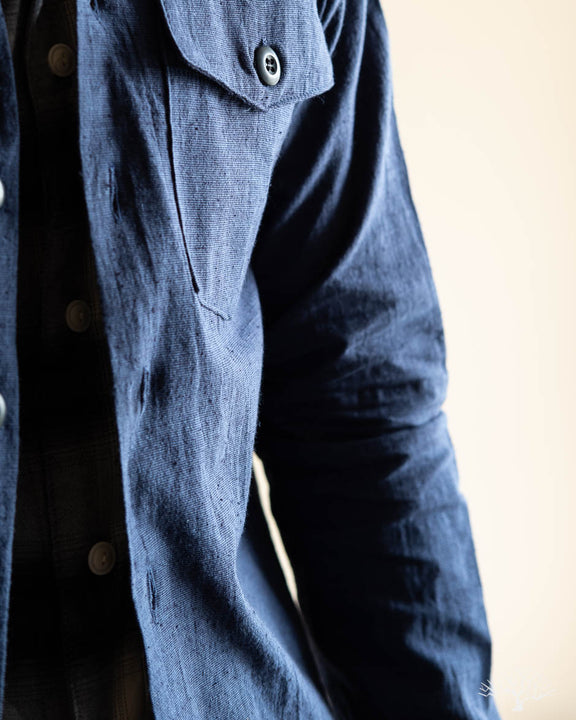 Slub Linen Fatigue Over Shirt - Navy