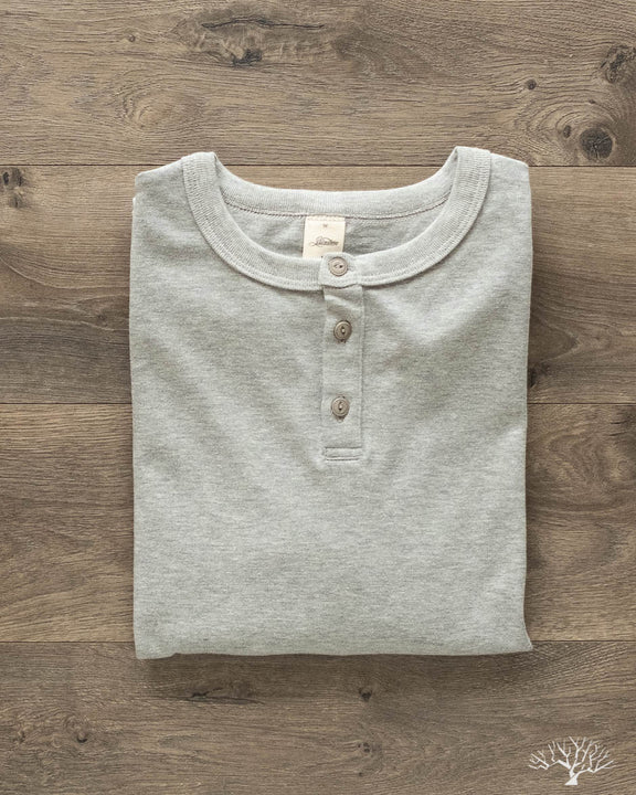 Heavyweight Long Sleeve Henley - Heather Grey