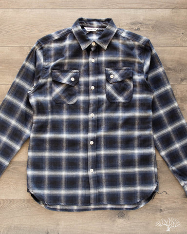 Crosscut Flannel - Navy Ombre