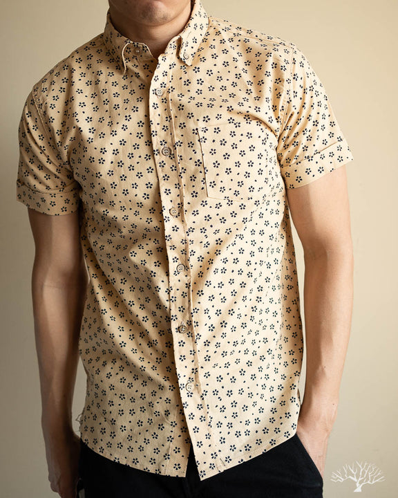 Sakura Print Short-Sleeve Shirt - Tan