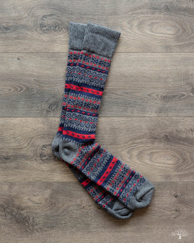 Fair Isle Merino Wool/Cashmere Socks - Pewter/Navy/Coral