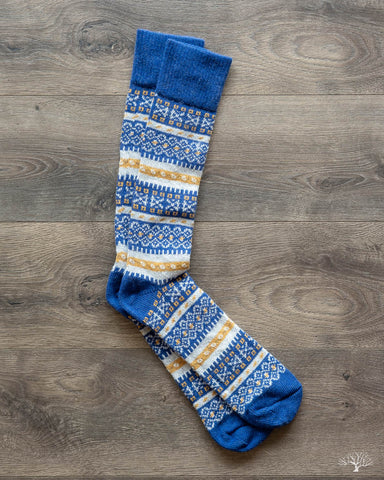Fair Isle Merino Wool/Cashmere Socks - Royal/White/Gold