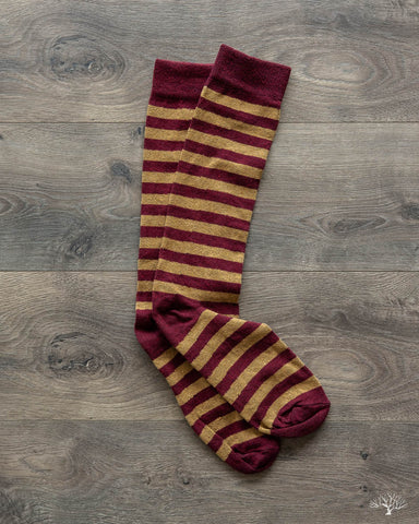 Rugby Stripes Socks - Burgundy/Ochre