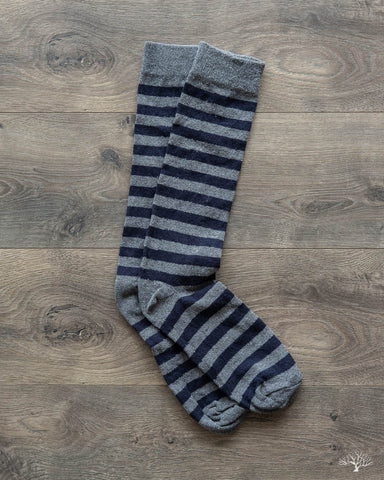 Rugby Stripes Socks - Pewter/Navy