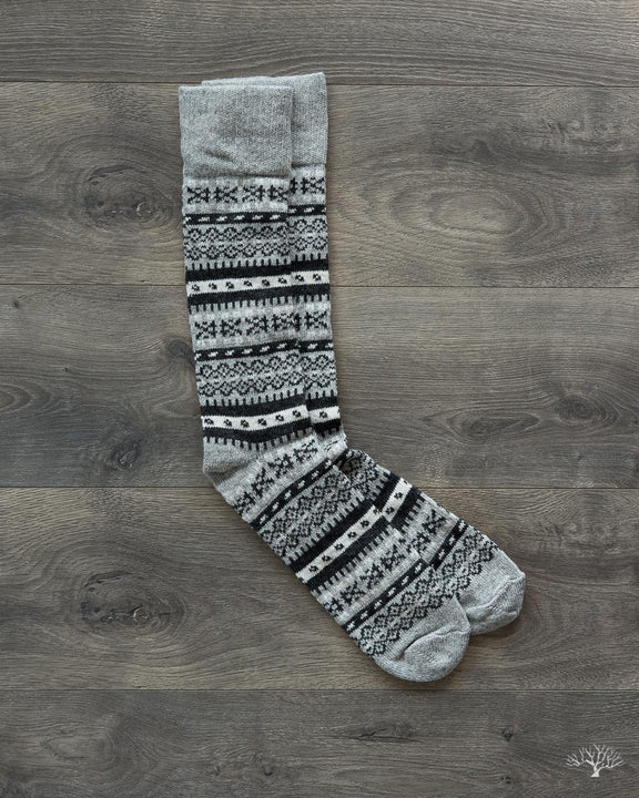 Fair Isle Merino Wool/Cashmere Socks - Grey/White – Withered Fig