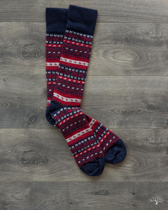 Fair Isle Merino Wool/Cashmere Socks - Navy/Red – Withered Fig