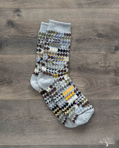 Patchwork Herringbone Socks - Grey