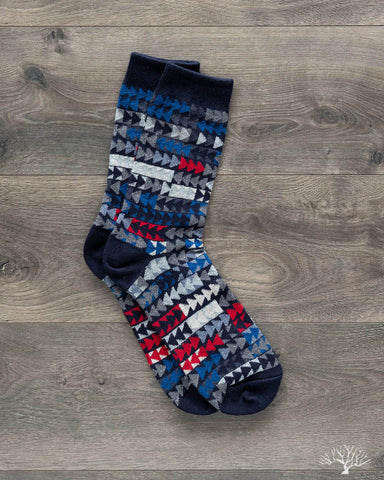 Patchwork Herringbone Socks - Navy